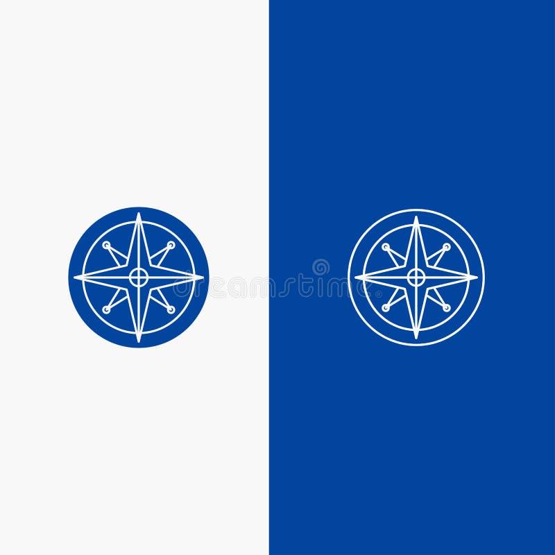 Πυξίδα, θέση, ναυσιπλοΐα, πλοηγός, γραμμή θέσης και στερεά γραμμή εμβλημάτων εικονιδίων Glyph μπλε και στερεό μπλε έμβλημα εικονι απεικόνιση αποθεμάτων