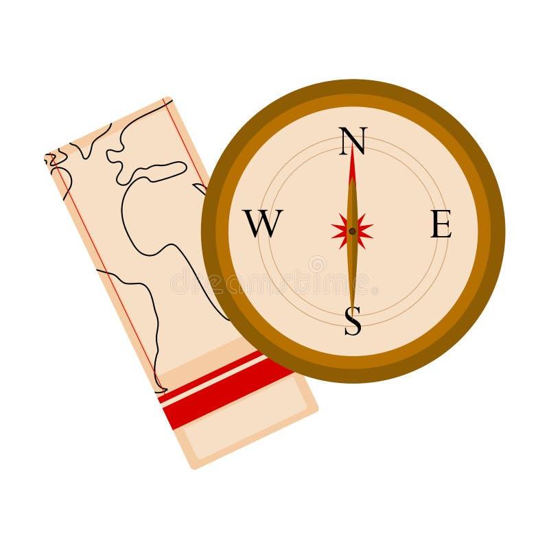 Πυξίδα με ένα εικονίδιο χαρτών διανυσματική απεικόνιση