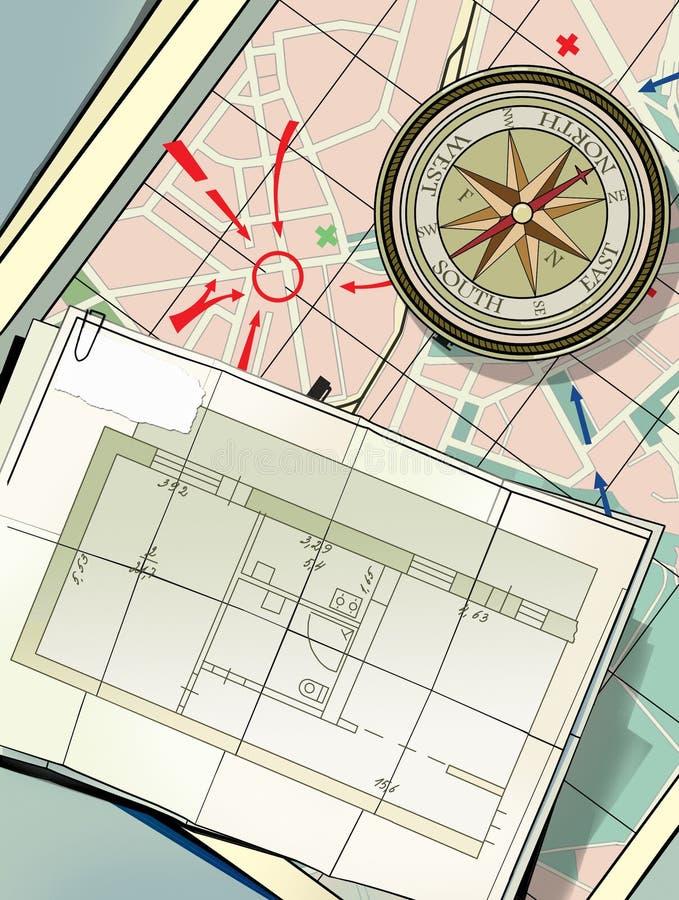 Πυξίδα στο χάρτη πόλεων Στρατηγική της δράσης Αναζήτηση της κατοικίας, κατοικία ενοικίου Σχέδιο των τετάρτων διαβίωσης απεικόνιση αποθεμάτων