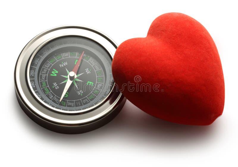 Πυξίδα και κόκκινη καρδιά στοκ εικόνες με δικαίωμα ελεύθερης χρήσης