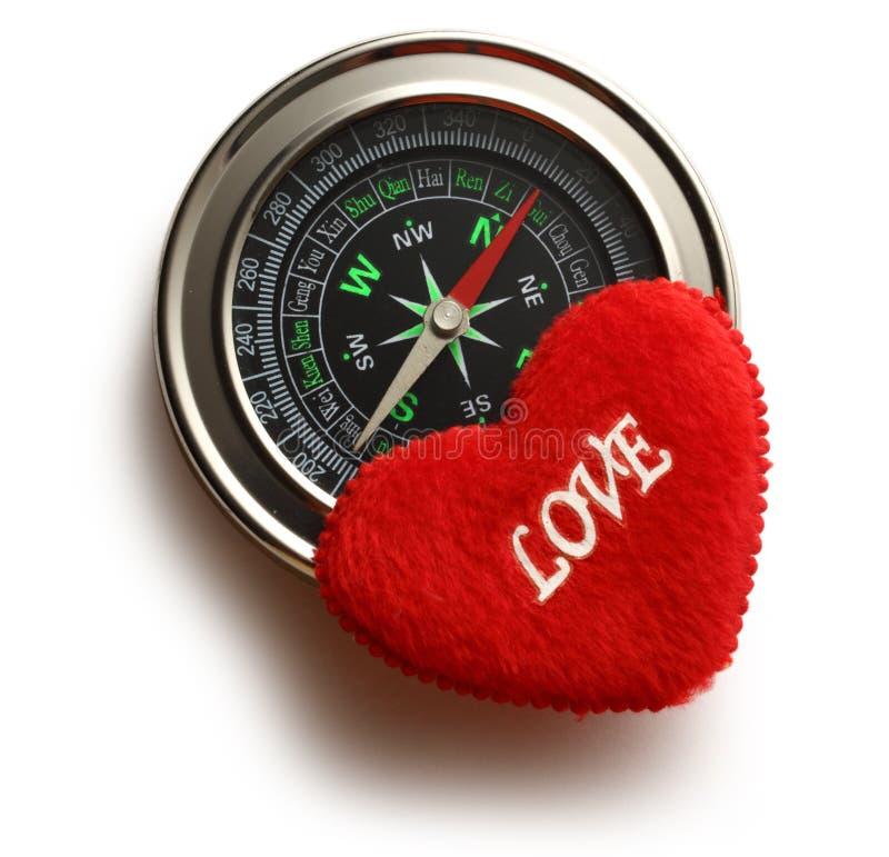 Πυξίδα και κόκκινη καρδιά στοκ φωτογραφίες