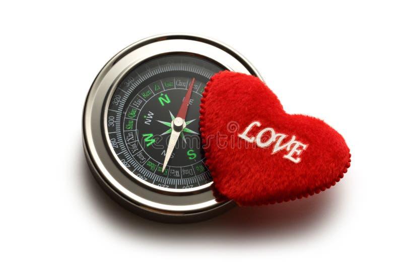 Πυξίδα και κόκκινη καρδιά στοκ φωτογραφία με δικαίωμα ελεύθερης χρήσης