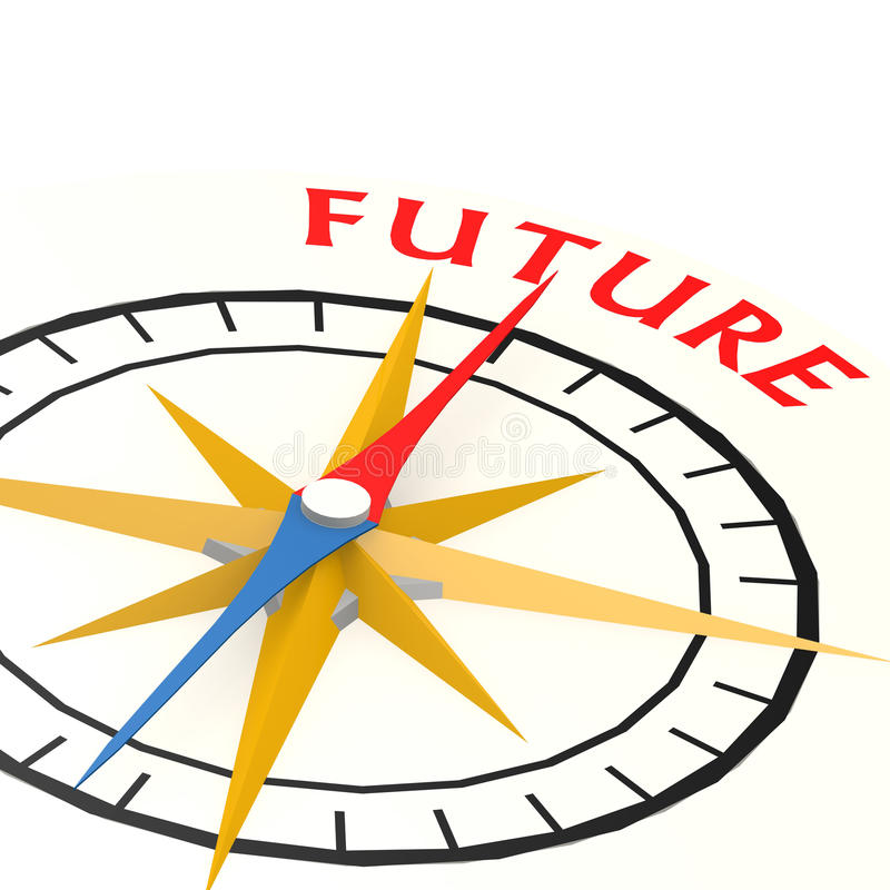 Πυξίδα με τη μελλοντική λέξη διανυσματική απεικόνιση