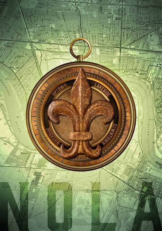 Πυξίδα της NOLA Νέα Ορλεάνη Λουιζιάνα διανυσματική απεικόνιση