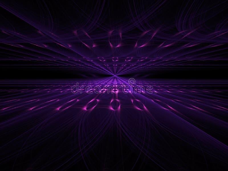 Πυράκτωση στα σκοτεινά φω'τα - υπόβαθρο προοπτικής Sci-Fi, υψηλή τεχνολογία ή εσωτερικό θέμα Γραφικό στοιχείο σχεδίου για τα εμβλ διανυσματική απεικόνιση