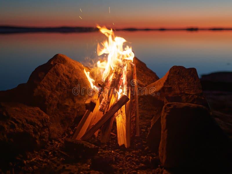 Πυρά προσκόπων στην παραλία τη νύχτα στοκ εικόνα