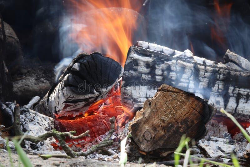 Πυρά προσκόπων στον κήπο με το ξύλινο κάψιμο στο απόγευμα exposure long Τα μμένα κούτσουρα χάνουν αργά τη θερμαντική αξία τους στοκ εικόνα