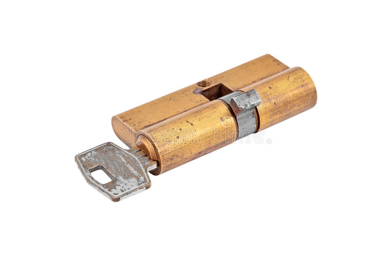 Πυρήνας κυλίνδρων κλειδωμάτων πορτών με το πλήκτρο στοκ εικόνα