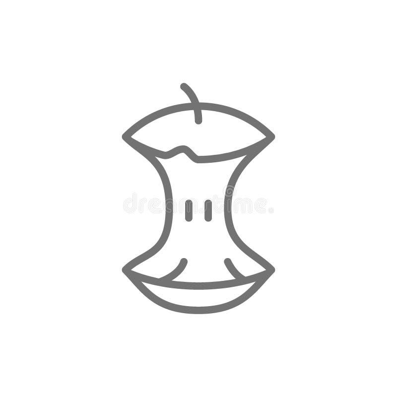 Πυρήνας της Apple, απόβλητα τροφίμων, εικονίδιο γραμμών απορριμάτων διανυσματική απεικόνιση