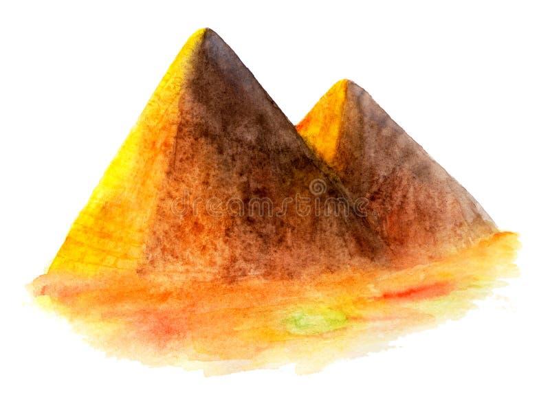 πυραμίδα της Αιγύπτου η διακοσμητική εικόνα απεικόνισης πετάγματος ραμφών το κομμάτι εγγράφου της καταπίνει το watercolor απεικόνιση αποθεμάτων