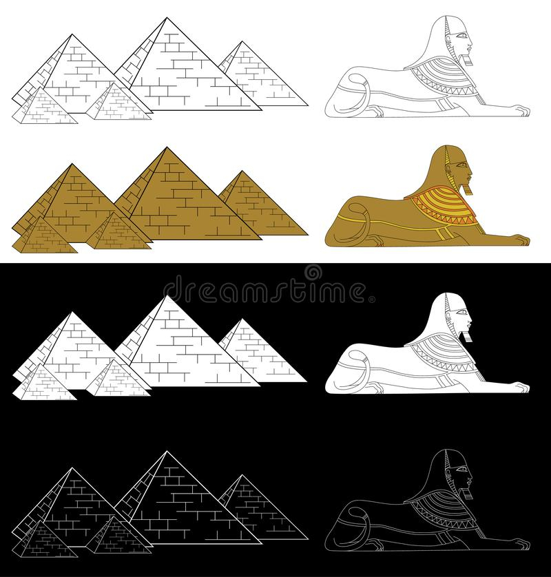 Πυραμίδες και Sphinx Αφρικανικό εθνικό ύφος στο Μαύρο, το λευκό και την έγχρωμη εικονογράφηση ελεύθερη απεικόνιση δικαιώματος