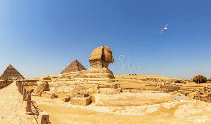 Πυραμίδες του πανοράματος Giza, της άποψης σχετικά με το Sphinx, της πυραμίδας Cheops και της πυραμίδας Chephren στοκ φωτογραφία