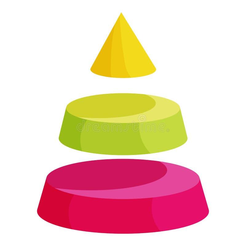 Πυραμίδα που διαιρείται σε εικονίδιο τριών στρωμάτων τμήματος διανυσματική απεικόνιση