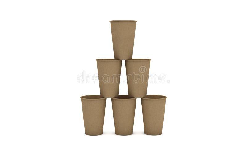 Πυραμίδα των καφετιών φλυτζανιών καφέ χαρτονιού στο άσπρο υπόβαθρο, έννοια οικολογίας, τρισδιάστατη απεικόνιση απεικόνιση αποθεμάτων