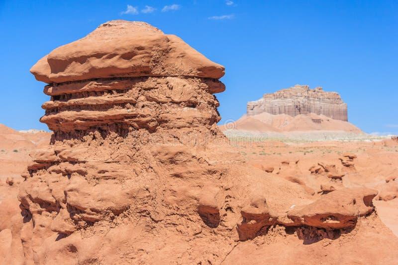 Πυραμίδες βράχου Hoodoo στο κρατικό πάρκο Γιούτα ΗΠΑ κοιλάδων Goblin στοκ εικόνες