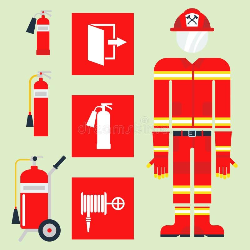 Πυρασφάλειας εξοπλισμού έκτακτης ανάγκης εργαλείων διανυσματική απεικόνιση προστασίας ατυχήματος κινδύνου πυροσβεστών ασφαλής διανυσματική απεικόνιση