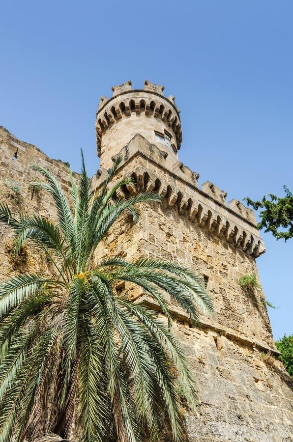 Πυργίσκος κέρατων του αρχαίου κάστρου της Ρόδου στοκ φωτογραφία με δικαίωμα ελεύθερης χρήσης