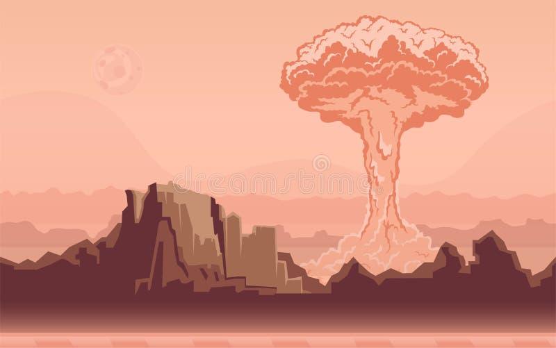 Πυρηνική έκρηξη βομβών στην έρημο Ατομικό μανιτάρι επίσης corel σύρετε το διάνυσμα απεικόνισης διανυσματική απεικόνιση