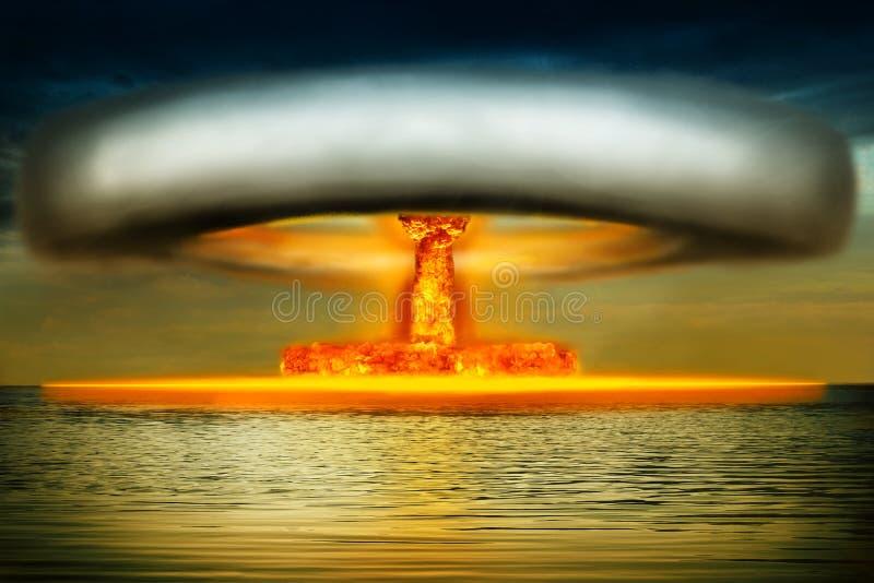 Πυρηνική έκρηξη στον ωκεανό διανυσματική απεικόνιση