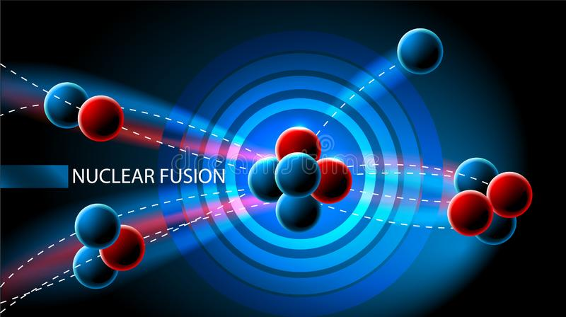 Πυρηνική αλυσωτή αντίδραση σχέδιο ή diagramm ελεύθερη απεικόνιση δικαιώματος