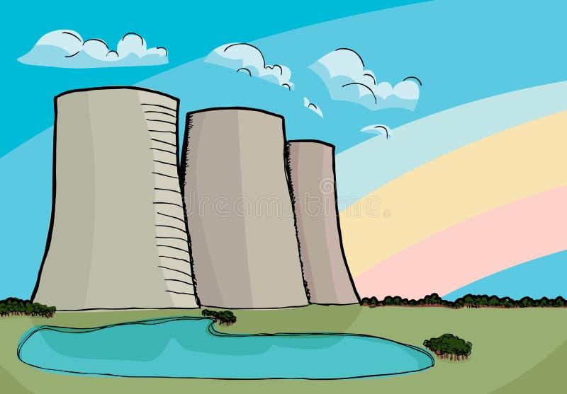 Πυρηνικοί δροσίζοντας πύργοι διανυσματική απεικόνιση