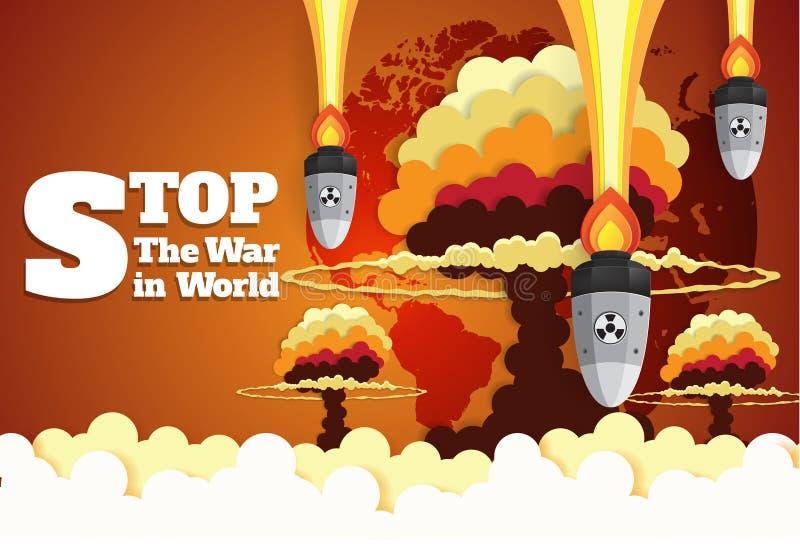 Πυρηνικός πόλεμος - ατομικές βόμβες που πέφτουν στη γη ελεύθερη απεικόνιση δικαιώματος