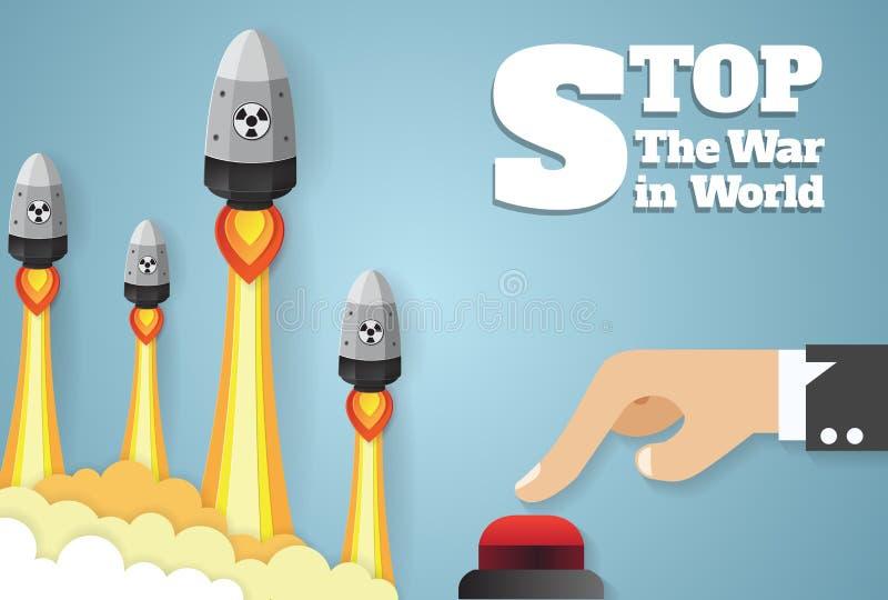 Πυρηνικός πόλεμος - πτώση ατομικών βομβών χέρια που ωθούν το κουμπί έναρξης ελεύθερη απεικόνιση δικαιώματος