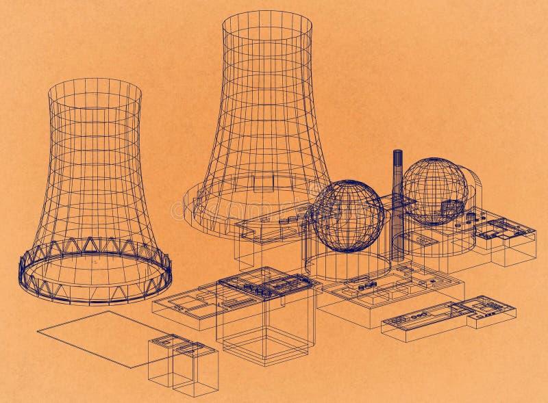 Πυρηνικός σταθμός - πυρηνικός αντιδραστήρας - αναδρομικό σχεδιάγραμμα αρχιτεκτόνων απεικόνιση αποθεμάτων