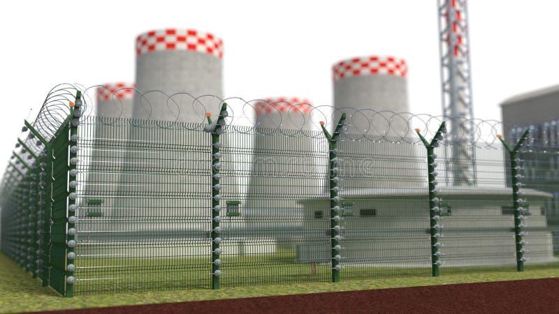 Πυρηνικός σταθμός αντικειμένου ασφάλειας φρακτών με τη δύναμη της κράτησης τρισδιάστατη απεικόνιση ελεύθερη απεικόνιση δικαιώματος