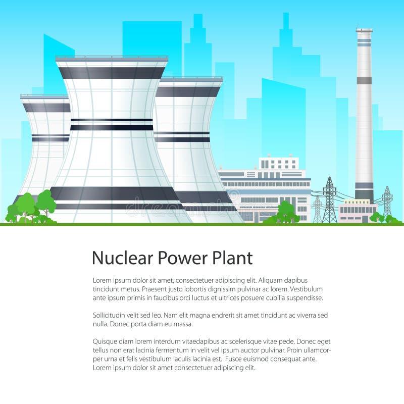 Πυρηνικός σταθμός αφισών ελεύθερη απεικόνιση δικαιώματος