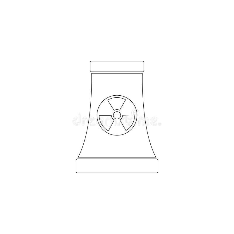 Πυρηνικός σταθμός επίπεδο διανυσματικό εικονίδιο διανυσματική απεικόνιση