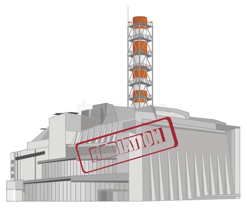 Πυρηνικός σταθμός και ακτινοβολία ελεύθερη απεικόνιση δικαιώματος
