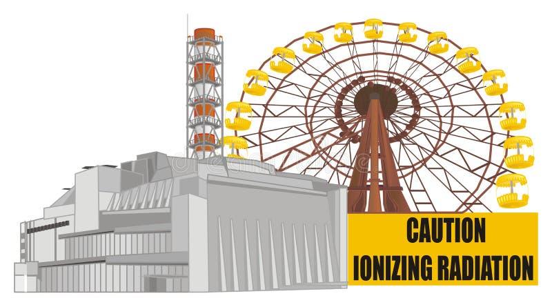 Πυρηνικός σταθμός και δύο αντικείμενα ελεύθερη απεικόνιση δικαιώματος