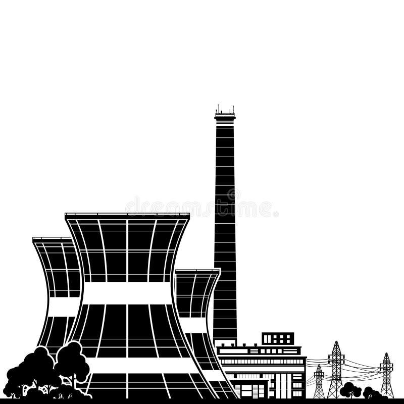 Πυρηνικός σταθμός σκιαγραφιών ελεύθερη απεικόνιση δικαιώματος