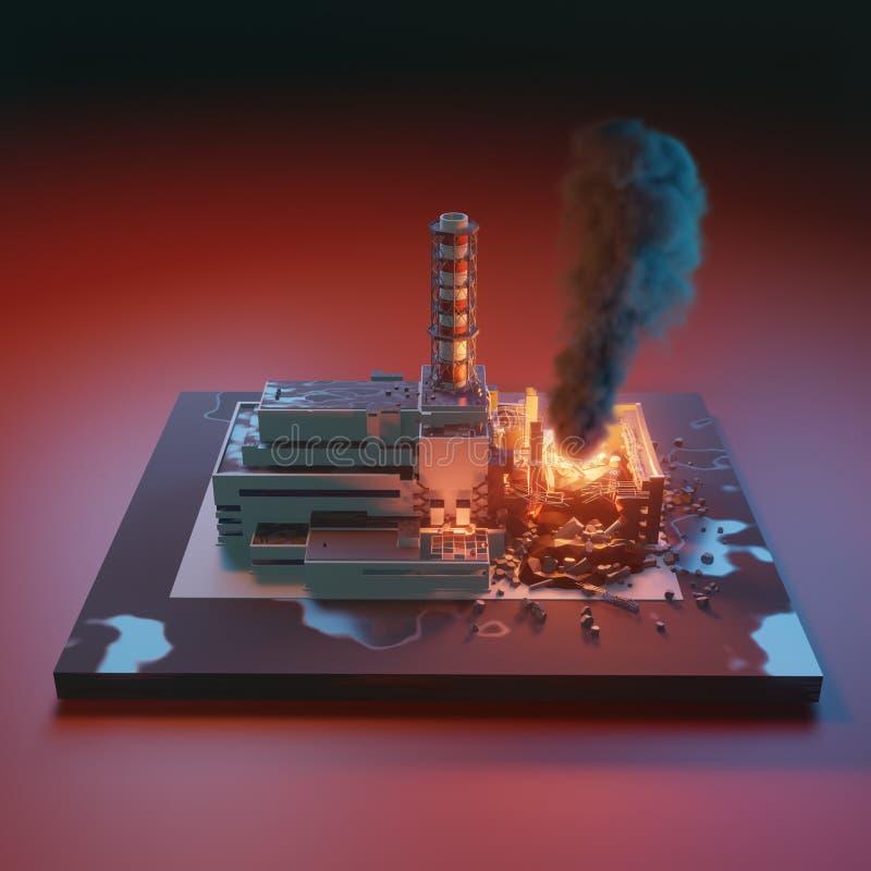 Πυρηνικός σταθμός του Τσέρνομπιλ Καταστροφή καταστροφής του Τσέρνομπιλ, πυρηνικό ατύχημα τρισδιάστατη isometric ρεαλιστική απεικό απεικόνιση αποθεμάτων