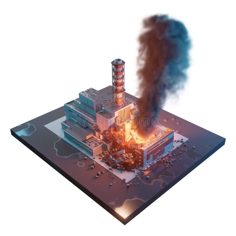 Πυρηνικός σταθμός του Τσέρνομπιλ Καταστροφή καταστροφής του Τσέρνομπιλ τρισδιάστατη isometric απεικόνιση που απομονώνεται στο άσπ ελεύθερη απεικόνιση δικαιώματος