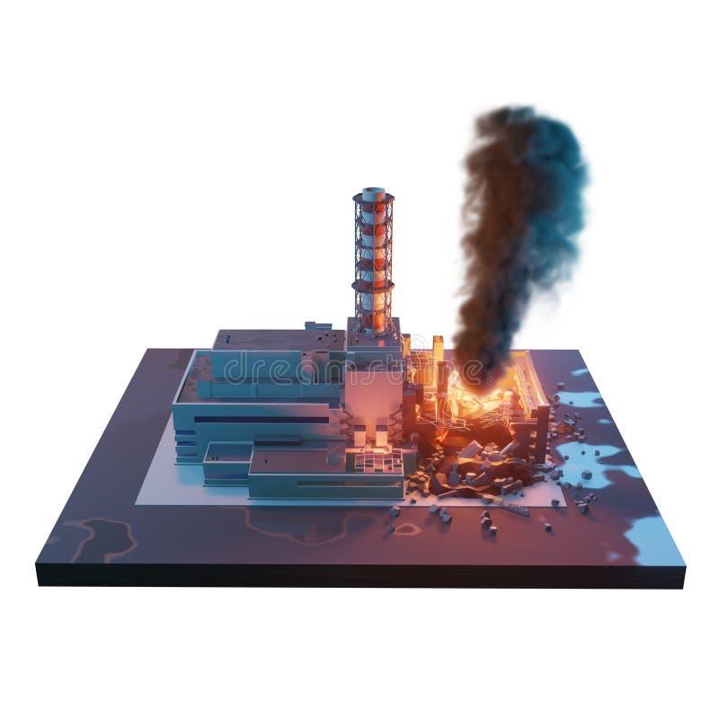 Πυρηνικός σταθμός του Τσέρνομπιλ Καταστροφή καταστροφής του Τσέρνομπιλ τρισδιάστατη isometric απεικόνιση που απομονώνεται στο άσπ διανυσματική απεικόνιση
