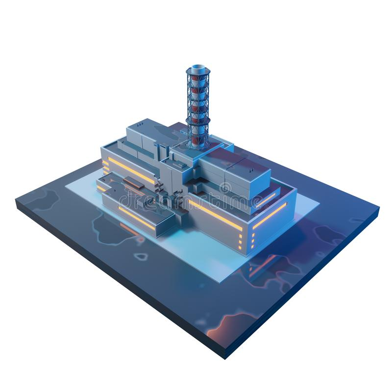 Πυρηνικός σταθμός του Τσέρνομπιλ πριν από την καταστροφή τρισδιάστατη isometric απεικόνιση που απομονώνεται στο άσπρο υπόβαθρο απεικόνιση αποθεμάτων