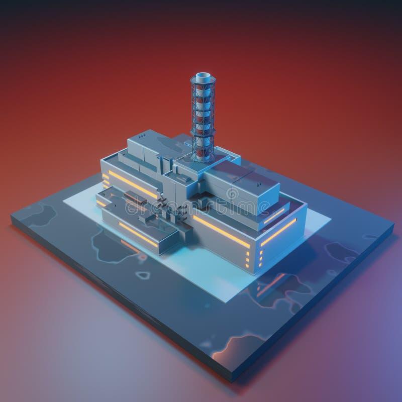 Πυρηνικός σταθμός του Τσέρνομπιλ πριν από την καταστροφή τρισδιάστατη isometric απεικόνιση που απομονώνεται στο άσπρο υπόβαθρο διανυσματική απεικόνιση