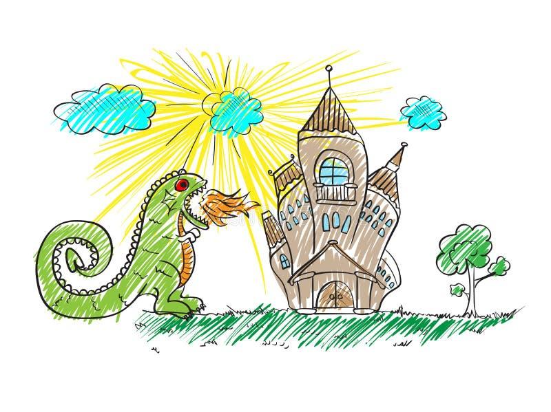 πυρκαγιά-αναπνέοντας δράκος που επιτίθεται στο κάστρο ελεύθερη απεικόνιση δικαιώματος