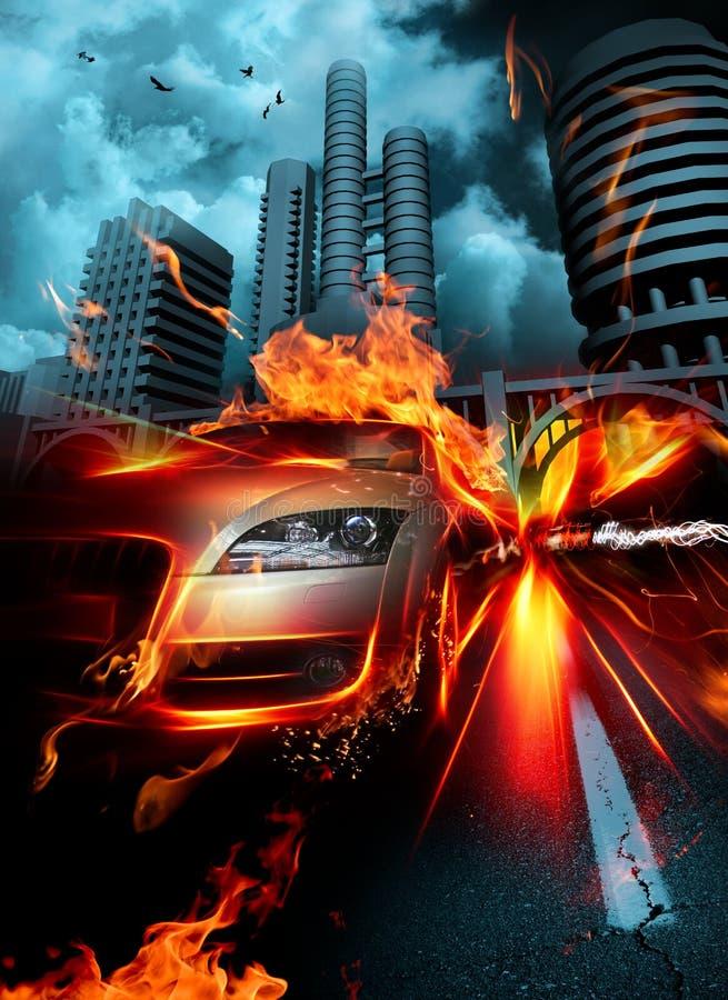 πυρκαγιά αυτοκινήτων ελεύθερη απεικόνιση δικαιώματος