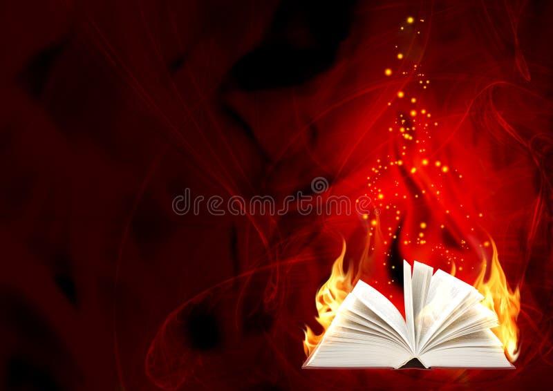 πυρκαγιά βιβλίων μαγική ελεύθερη απεικόνιση δικαιώματος