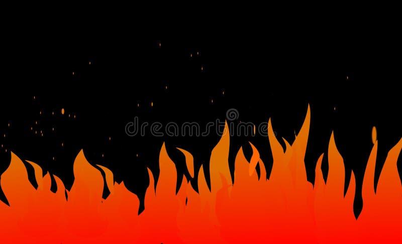 Πυρκαγιά, επιγραφή ιστοχώρου φλογών διανυσματική απεικόνιση