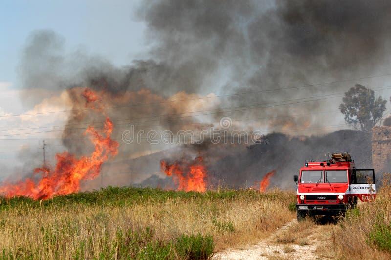 Πυρκαγιά και πυροσβέστες σε μια εκστρατεία πυρκαγιάς στοκ φωτογραφία με δικαίωμα ελεύθερης χρήσης