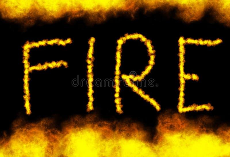 Πυρκαγιά λέξης με τις φλόγες γύρω στο μαύρο υπόβαθρο διανυσματική απεικόνιση
