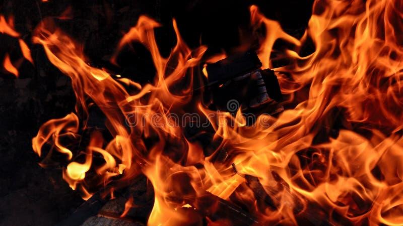 Πυρκαγιά με τα κούτσουρα στοκ εικόνες