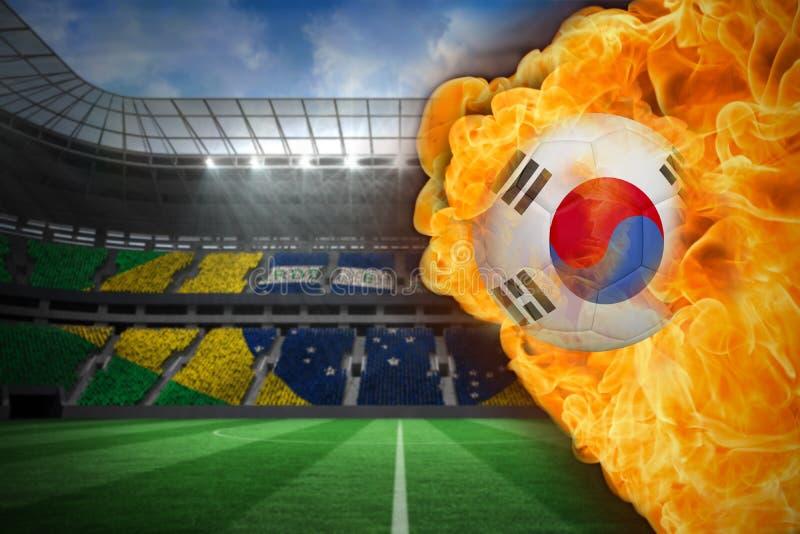 Πυρκαγιά που περιβάλλει το ποδόσφαιρο σημαιών δημοκρατιών της Κορέας διανυσματική απεικόνιση