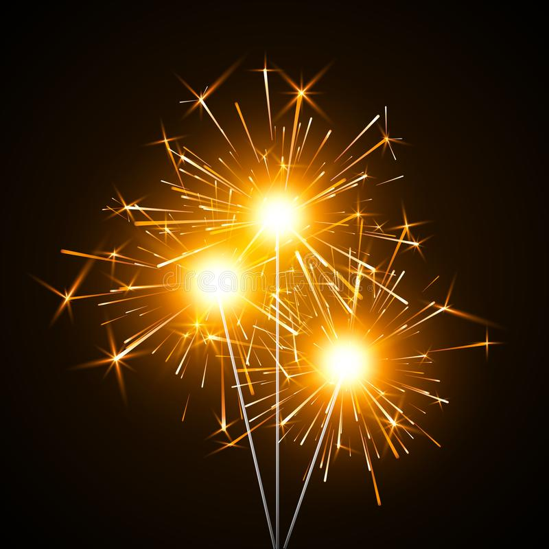 Πυρκαγιά της Βεγγάλης Στοιχείο ντεκόρ κόμματος Μαγικό φως Καίγοντας λαμπρό πυροτέχνημα sparkler Ρεαλιστική ελαφριά επίδραση r διανυσματική απεικόνιση