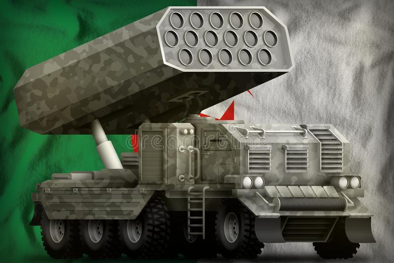 Πυροβολικό πυραύλων, προωθητής βλημάτων με την γκρίζα κάλυψη στο υπόβαθρο εθνικών σημαιών της Αλγερίας r απεικόνιση αποθεμάτων