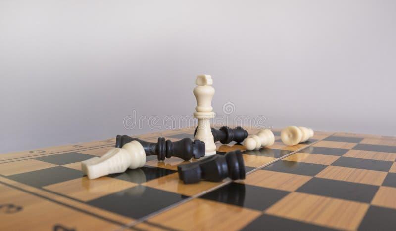 Πυροβολισμός κινηματογραφήσεων σε πρώτο πλάνο των ειδωλίων σκακιού σε μια σκακιέρα με ένα θολωμένο άσπρο υπόβαθρο στοκ εικόνα με δικαίωμα ελεύθερης χρήσης